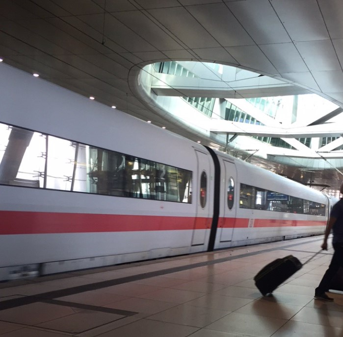German long-distance train at the Frankfurt airport train station.