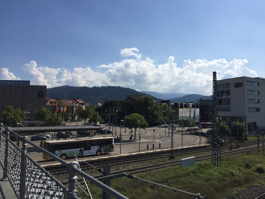 View from the bridge at the train station in Freiburg.