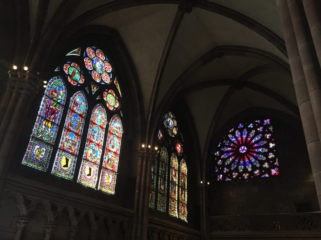 Stained glass inside the Münster