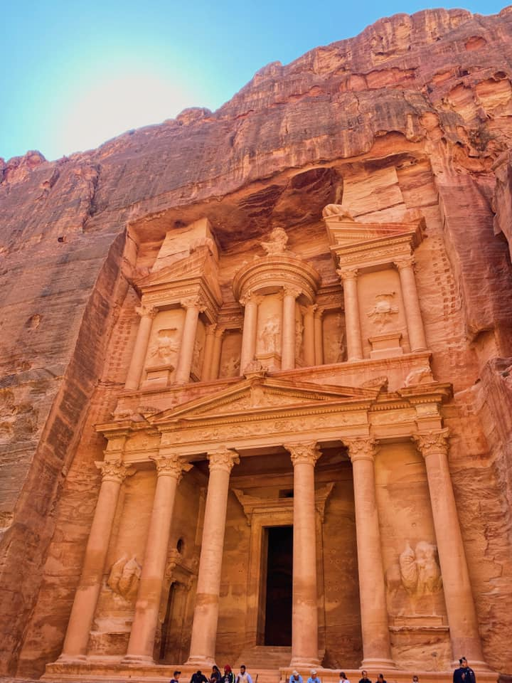 The Treasury--the quintessential attraction of Petra. It is 40 meters high and meticulously adorned with Corinthian figures and friezes. Archaeologists recently discovered a graveyard underneath it, but believe its two main floors were used as a temple and to store important documents.
