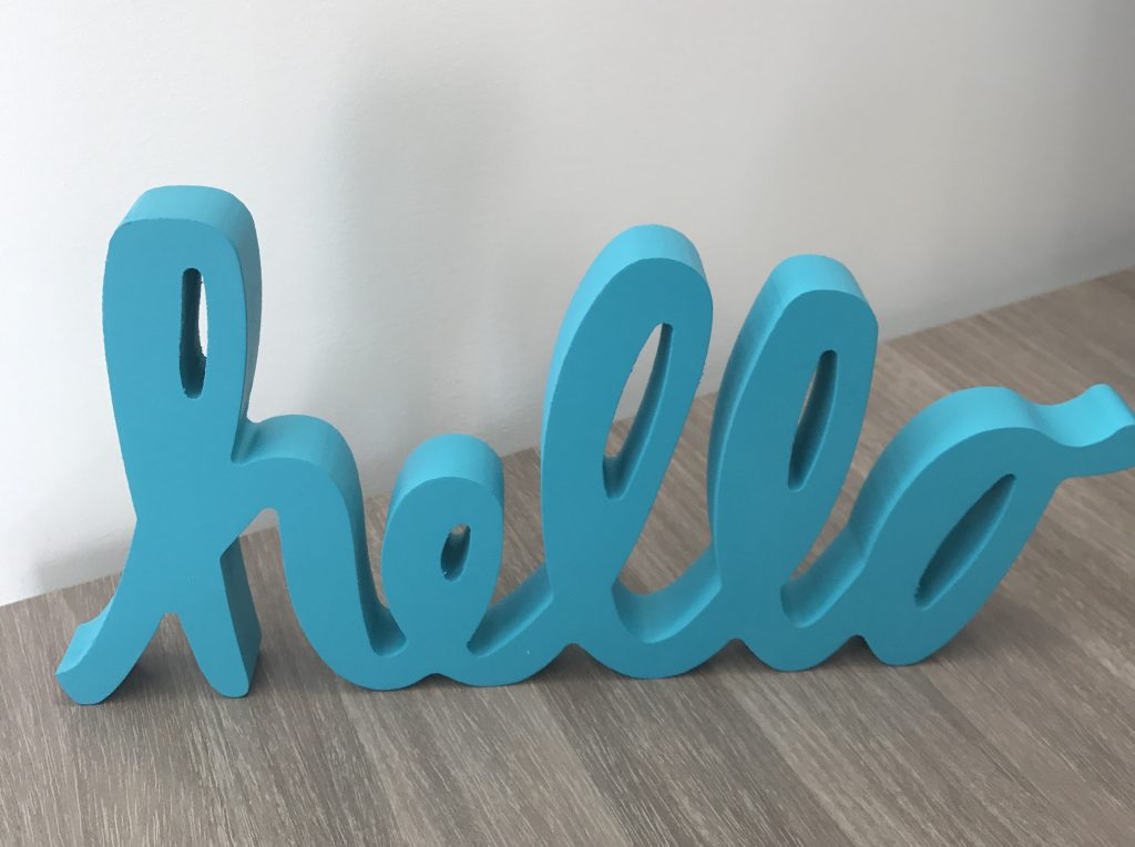 hello cut letters sign