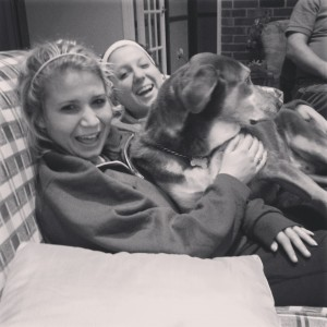 Morgan and I hanging out with my dog Nestle