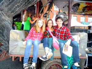 My classmates Amanda, Chris, and I at Art Prize for our FYS field trip! (Yes, we're sitting on a piece of art. But we got permission.)