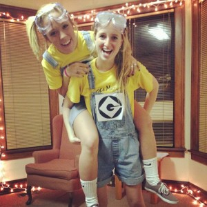 Lauren and I dressed as minions for Club Eek!