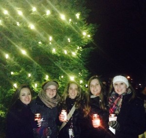 Some friends and I at the tree lighting.