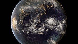 Do you see that mass of white? That's the typhoon, and it is engulfing The Philippines.