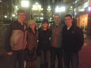 This is the crew right after eating pizza. Luckily the rain took a little bit of a break for us to be able to take this picture!   R to L: Cullen, Sarah, me, Eric, and Josh.