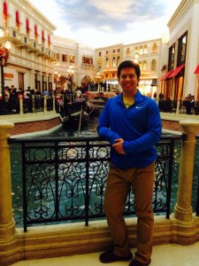 Here I am smiling at The Venetian before the gondola!