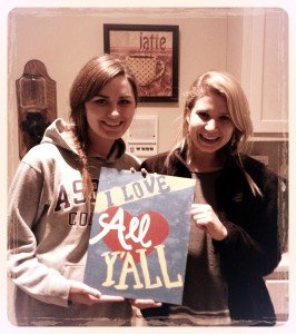 My friend Lindsey and I with one of our many crafts