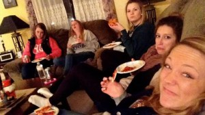 Eating some pizza after arriving at Lauren's house. We're all looking pretty good I have to admit