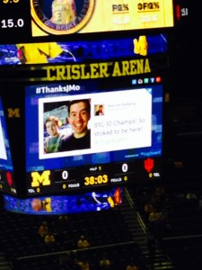 Here we are on the jumbotron. What an honor it was!