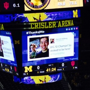 Look! It's Joey and me on the JUMBOTRON!