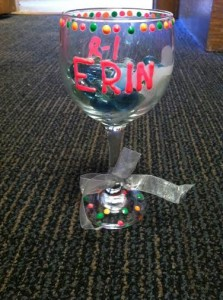 This is the decorated glass my Odd year sister, Elizabeth, gave to me to hold my candle for Candlelight