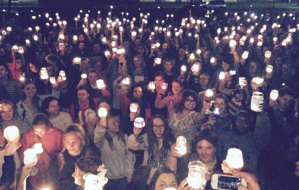Here is President Knapp's picture that he tweeted. I'm in there! (towards the back. Yeah, the one raising a glass with a candle in it!)