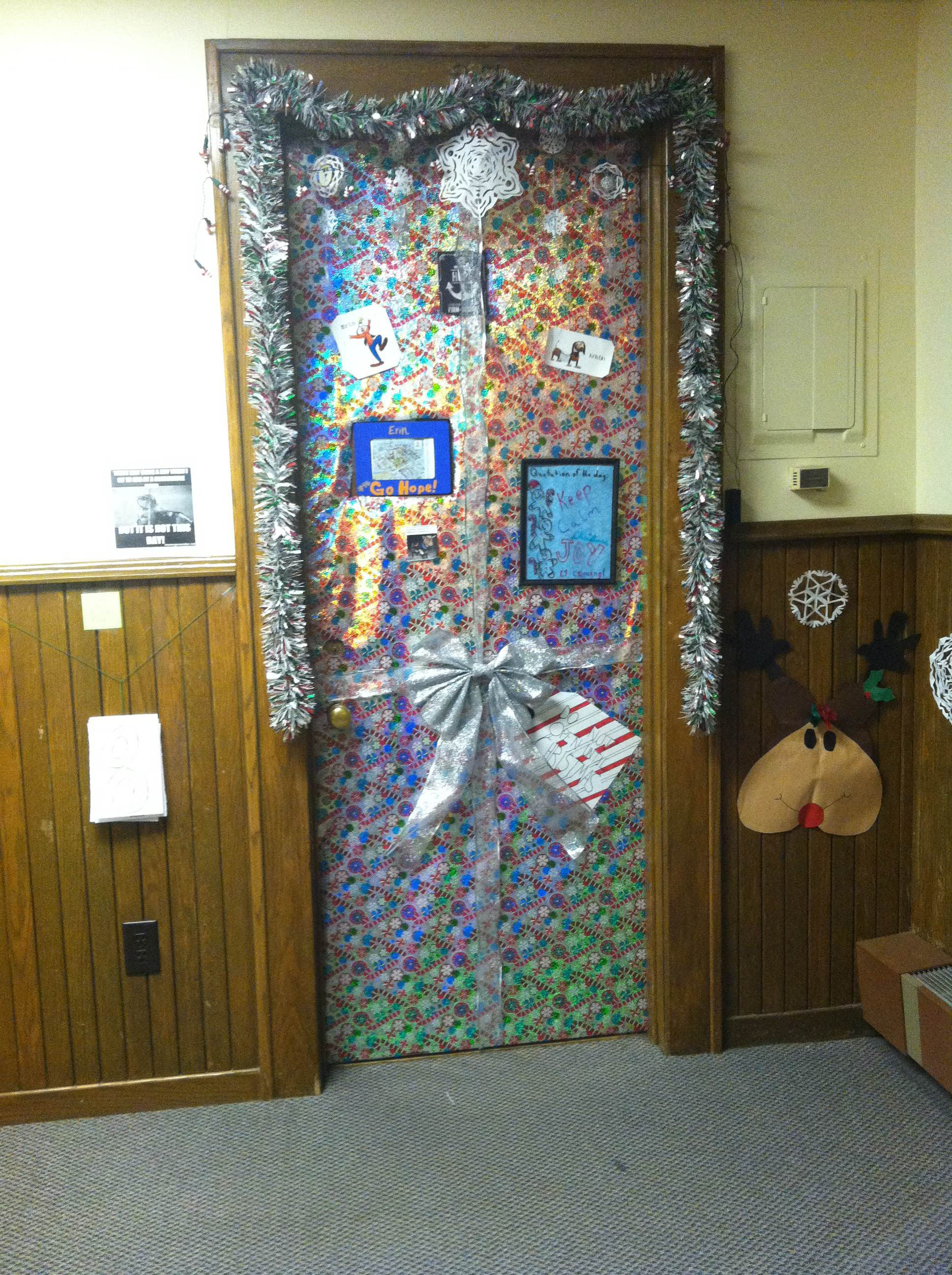 Our Door Wrapped Up And Ready For Christmas. With A Countdown To Break (7
