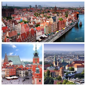 These are the places I am visiting! The top is Gdansk, on the left is Warsaw, and the right is Krakow!