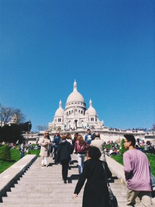 View of the Sacré Coeur while walking up