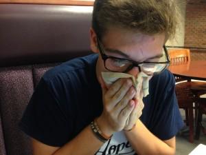 Danny sneezes.