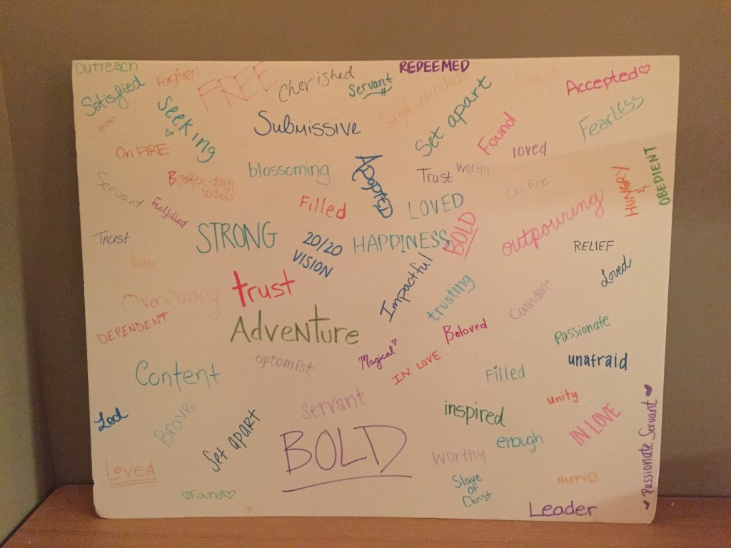 Poster filled with empowering words