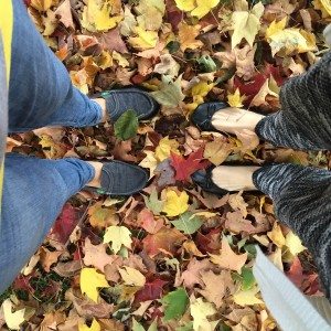 leaves covering the ground that two people are standing on.