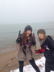 Sydney and Gabby on the snowy beach.