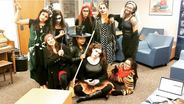 Halloween costume group photo
