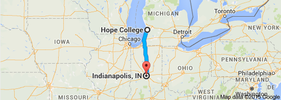 Map of Hope College, Michigan to Indianapolis
