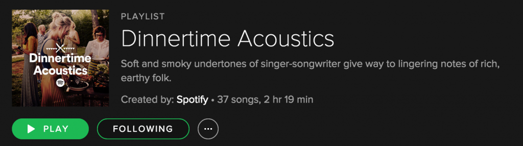 This is my playlist for library nights - Dinnertime Acoustic!
