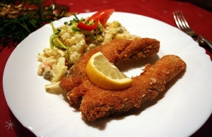 Carp and potato salad is the tradition December 24th dinner.