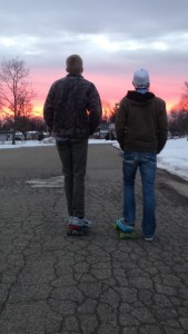 Long boarding in the cold.