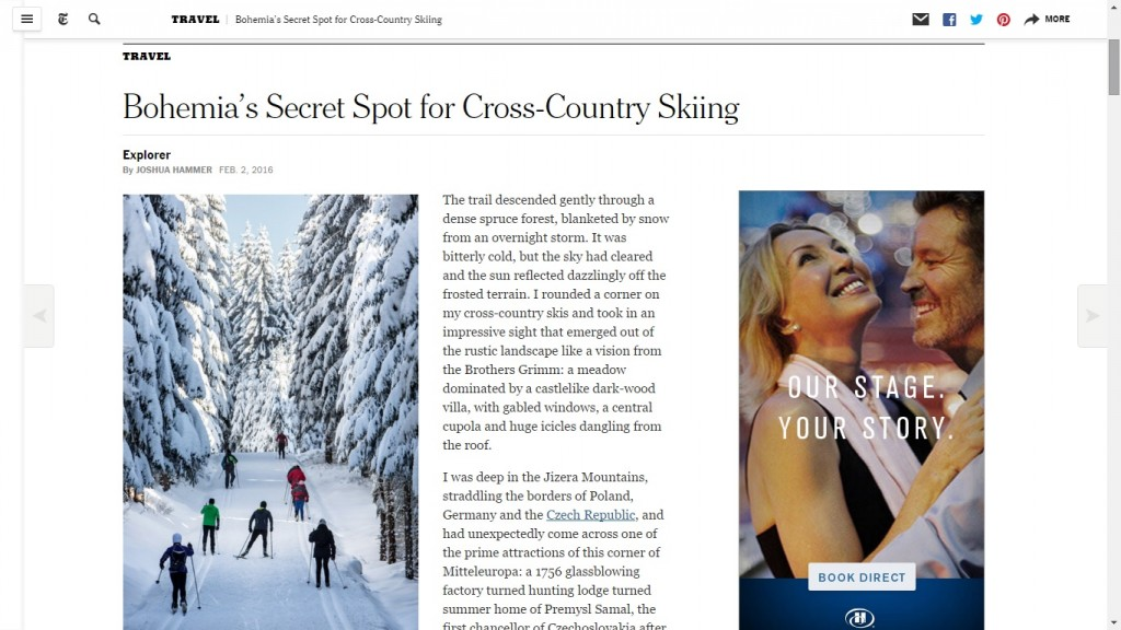 "The New York Times article about Jizerské Hory named named ""Bohemia's Secret Spot for Cross-Country Skiing"""