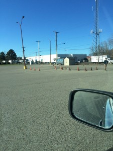 The first part of the driving skills test: parking between the cones.