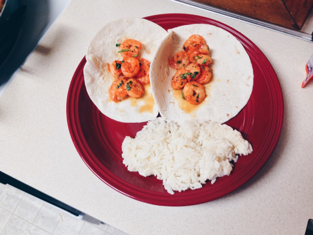 Shrimp tacos with a side of white rice