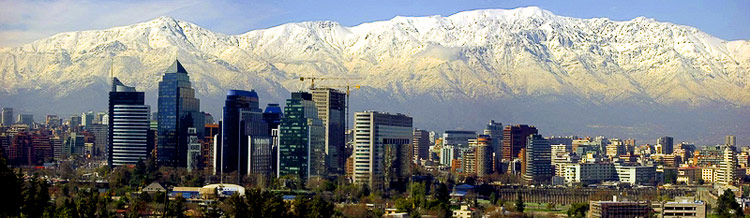 The view of Santiago with the mountains in the background.