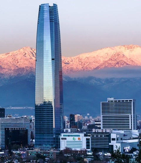 Costanera Center is 1,056 ft. (322m) tall.