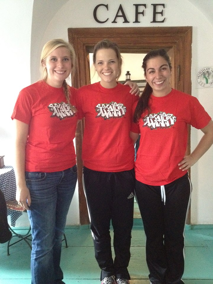 Jill, Ashley, and I looking snazzy in our Tizer t-shirts