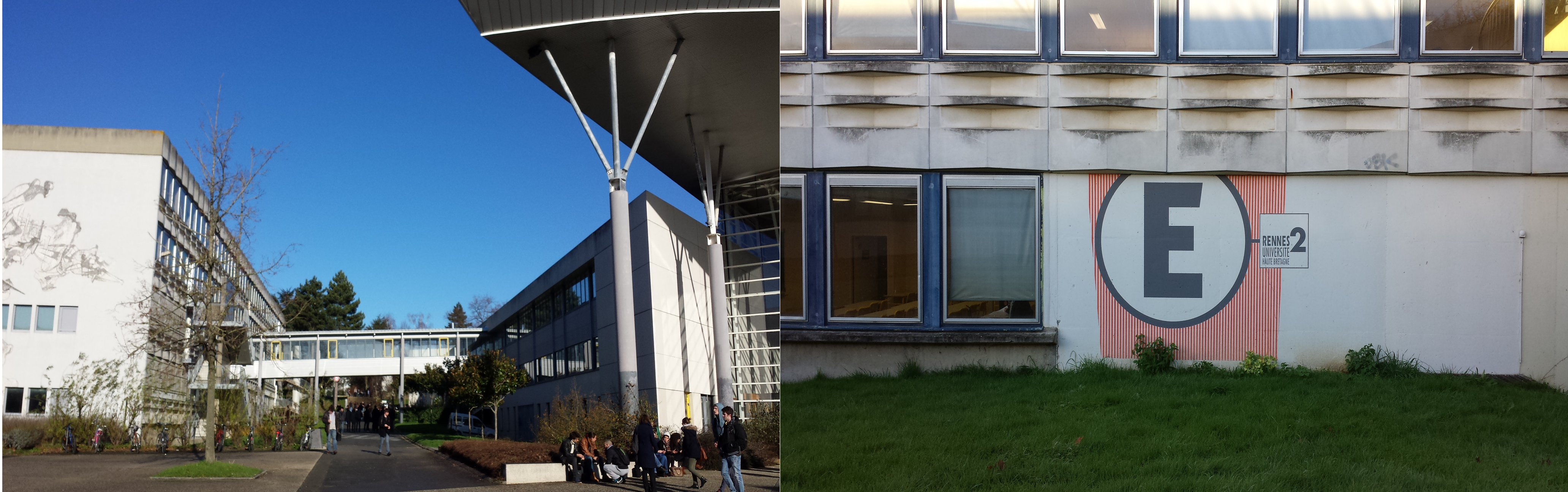 "Left: A sunny day at Rennes II. Right: The language building of Rennes II and home to CIREFE and CIEE. It's called simply ""Building E."""
