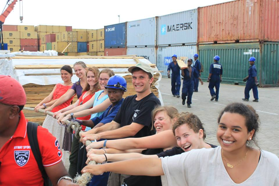 The group of SIT students from my program during a visit to the port (minus Anna - she's taking the picture!)