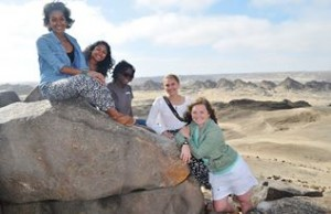 This was the main group of girls I traveled with and here we are in the Namibian desert!