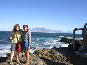 We are at the coast of Robben Island where you can get a good view of Table Mountain in Cape Town.