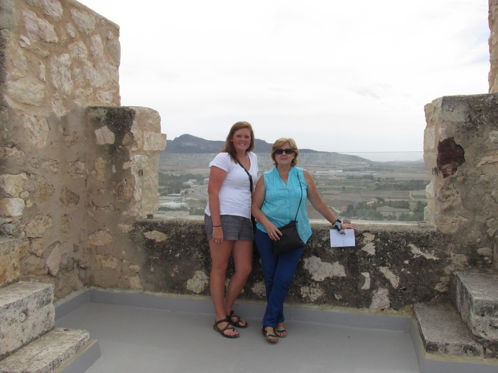 My host mom, Celia and I at the top of the Villena castle.