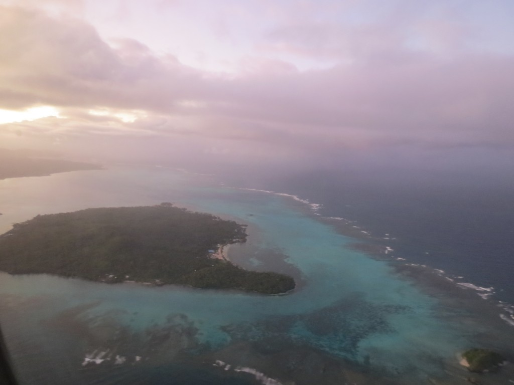 The beautiful Upolu coastline from the air.
