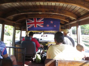A view of the inside of one of a bus in Samoa.