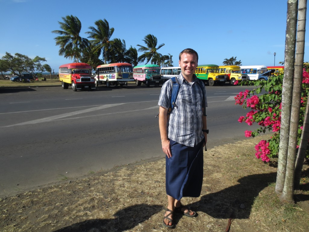 Posing in front of the main Apia bus station, dressed in a traditional sulu: men's wraparound sarong.