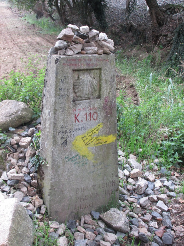 110 Kilometer maker, Staring point in Sarria, Spain