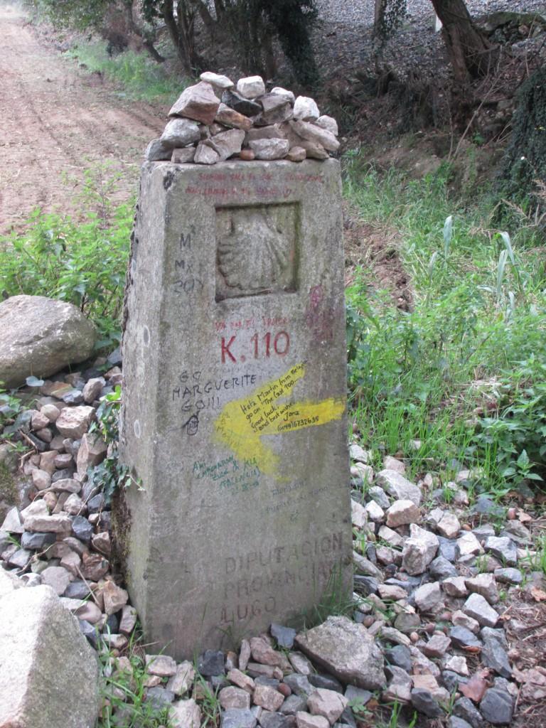 110 Kilometer maker, Staring point in Sarria, Spain