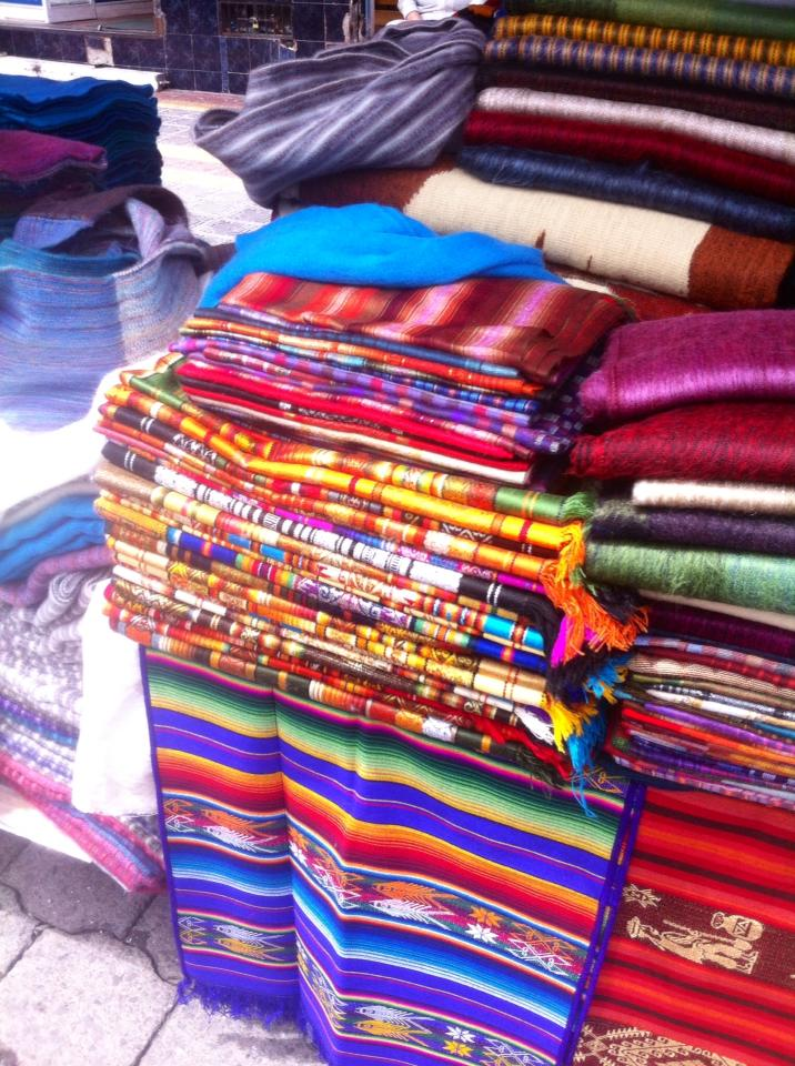 The vibrant textiles that can be found at the market