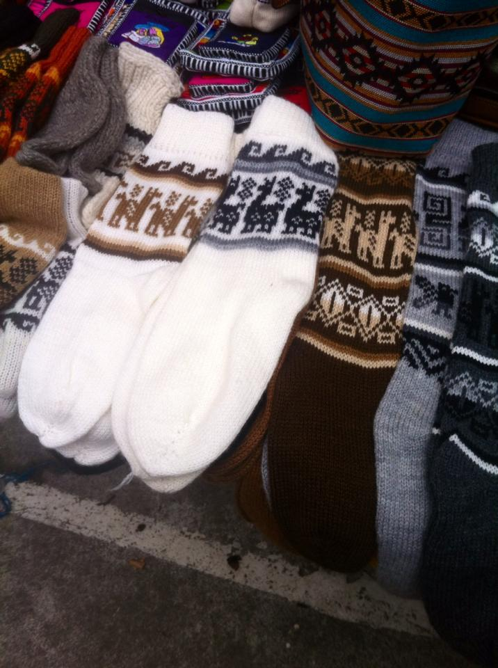 The woven Alpaca socks I bought at Otavalo