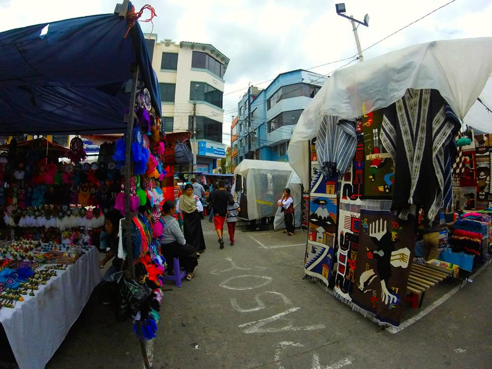 A glimpse of the center of the market. You might notice the woman on the left side of the screen dressed in the traditional clothing of the Otavalo region.