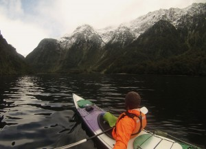 Kayaking through Doubtful Sound.